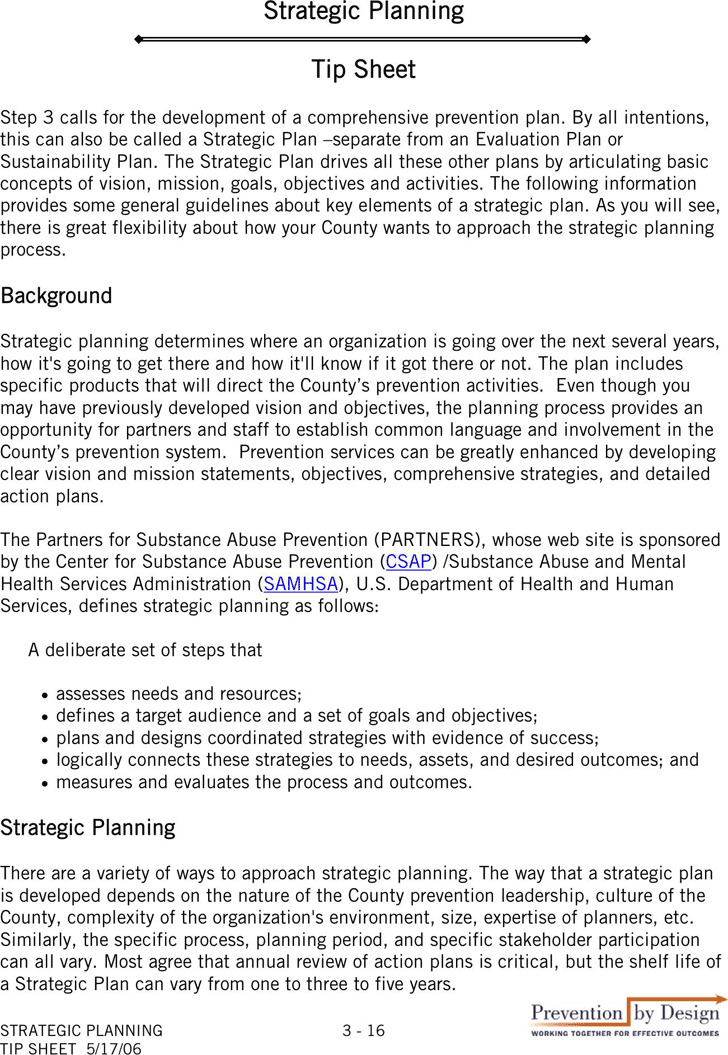 Strategic Planning tip Sheet