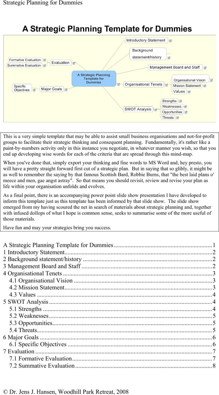 Strategic Planning Template For Dummies