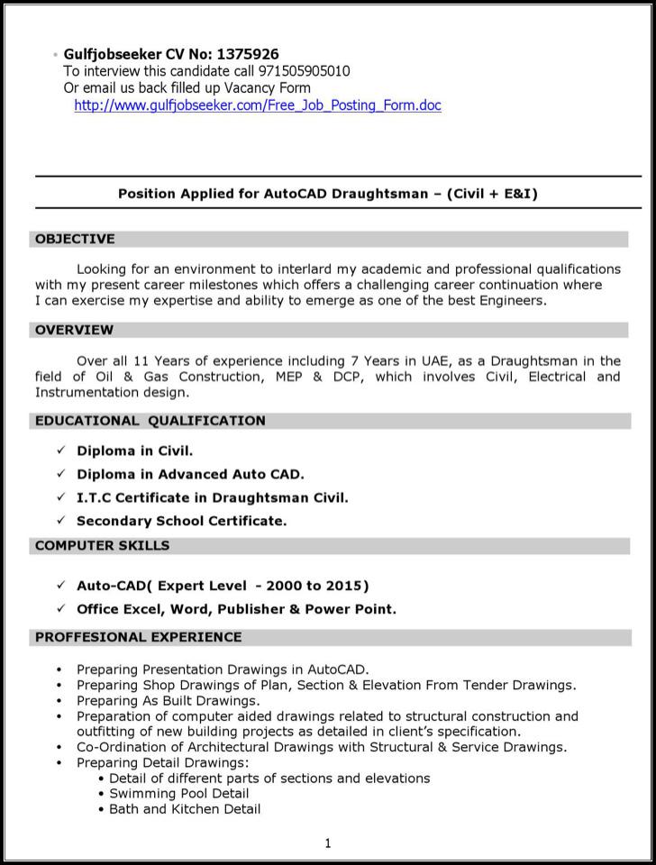 structural draftsman resume - Draftsman Resume Sample