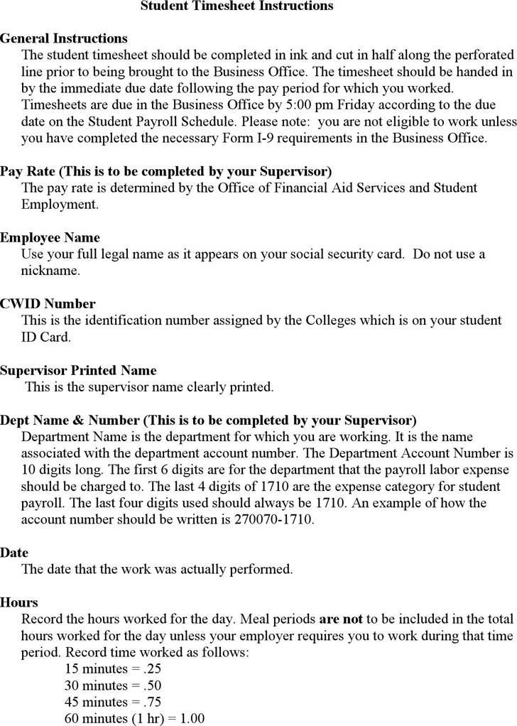 Student Payroll Timesheet
