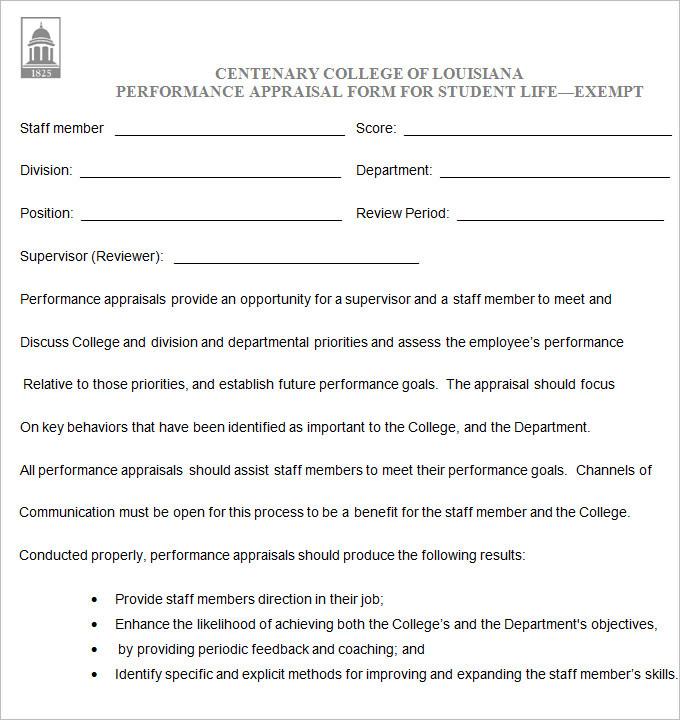 Student Performance Appraisal Form