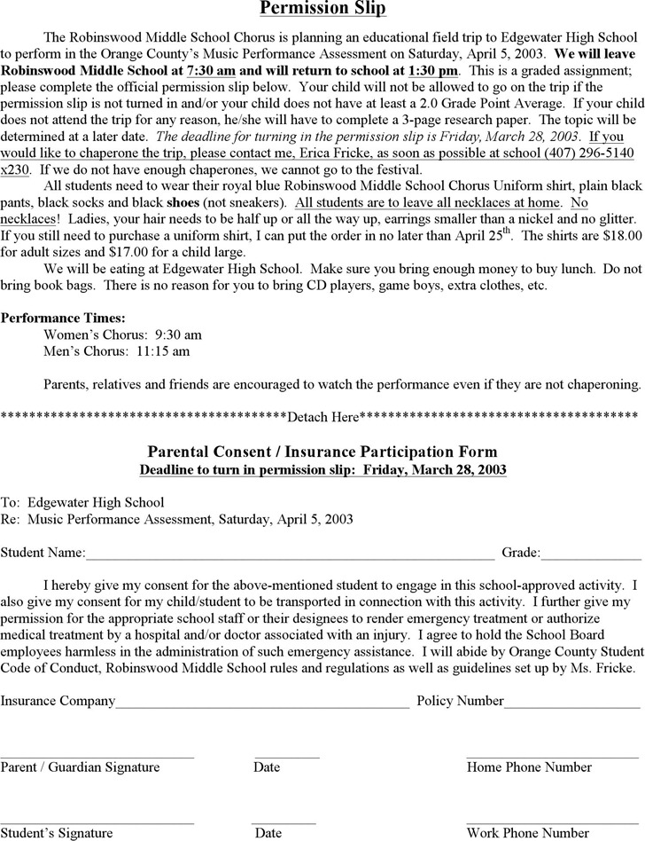 Permission Slip Template – Permission Slip Template