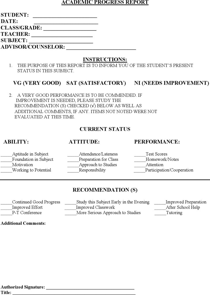 Best Student Progress Report Template Gallery  Best Resume