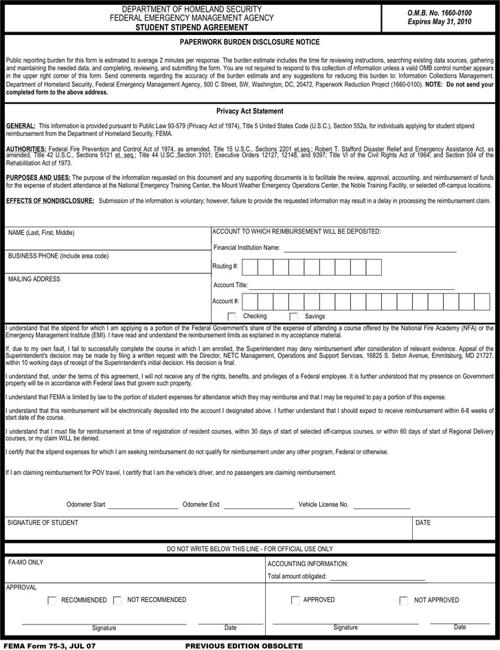 Fema Application Form  Download Free  Premium Templates Forms