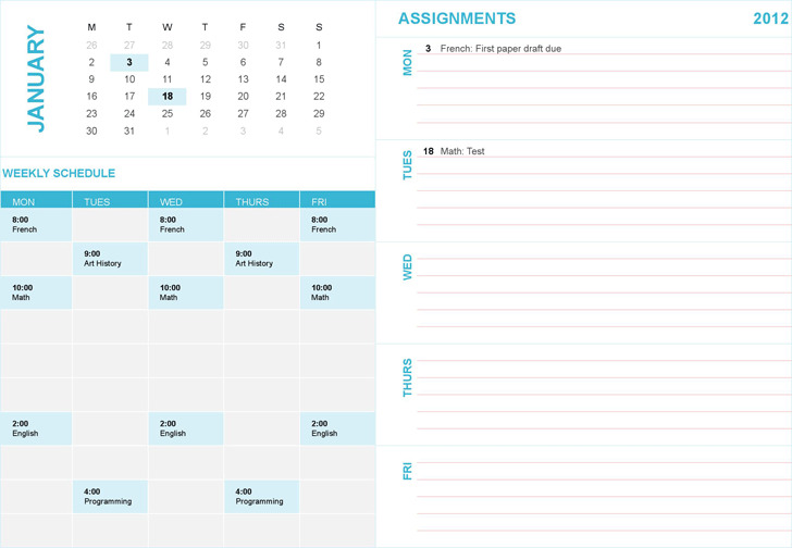 Student Weekly Planning Calendar (Any Year, Mon-Sun)