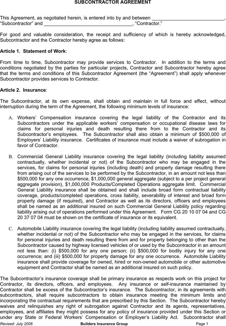 Subcontractor Agreement 2