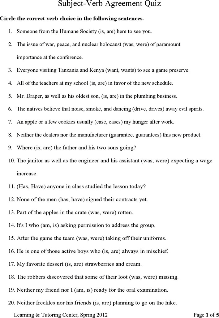 Subject Verb Agreement Quiz Download Free Premium Templates. Subjectverb Agreement Quiz. Worksheet. Subject Verb Agreement Worksheet At Mspartners.co