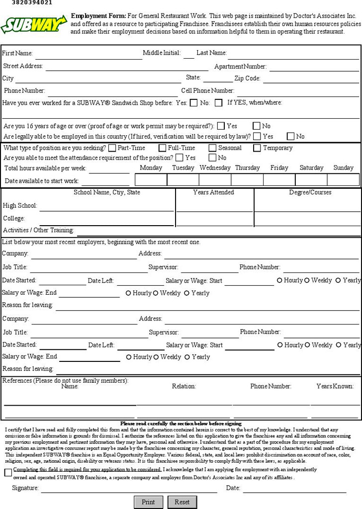 Subway Employment Application