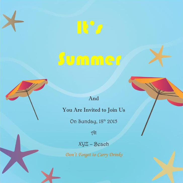 Summer Holiday Invitation Free MS Word Template