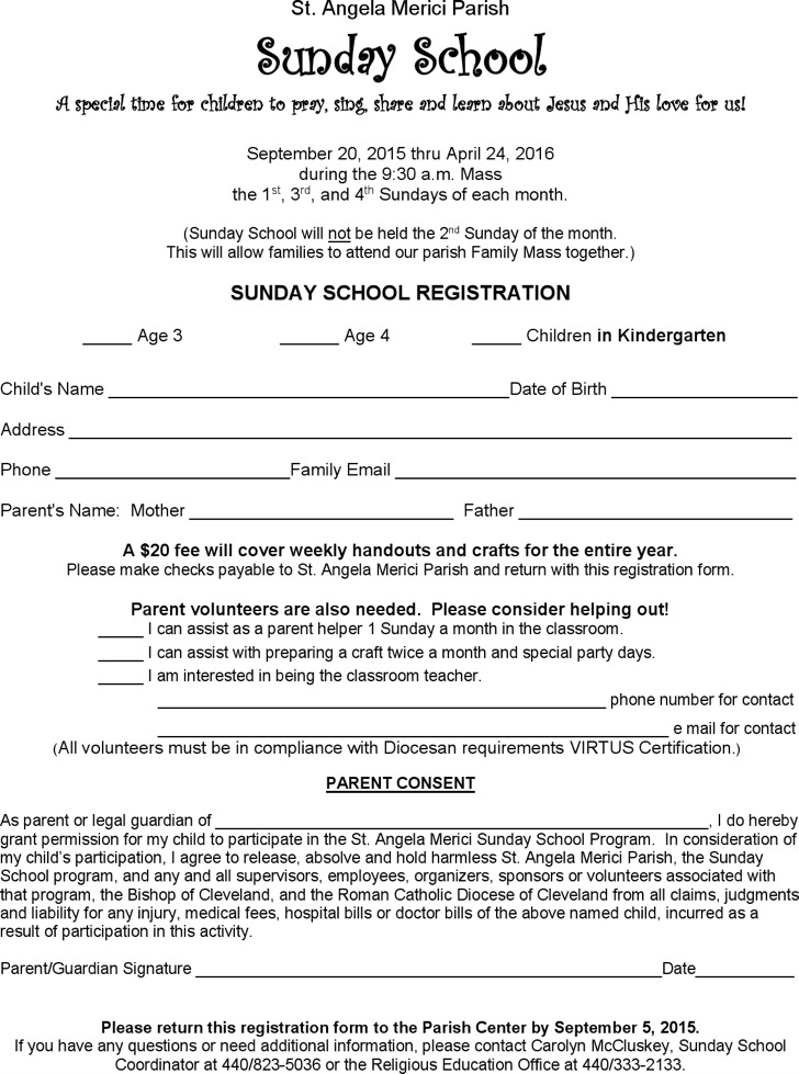Sunday School Registration Certificate Template