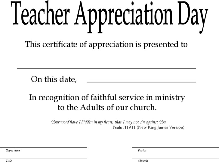 Sunday School Teacher Certificate Template