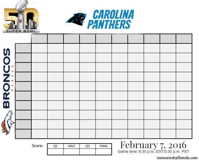Super Bowl Squares 2016 Panthers Broncos Pool Game