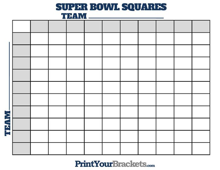 Super Bowl Squares Football Pool Template Free