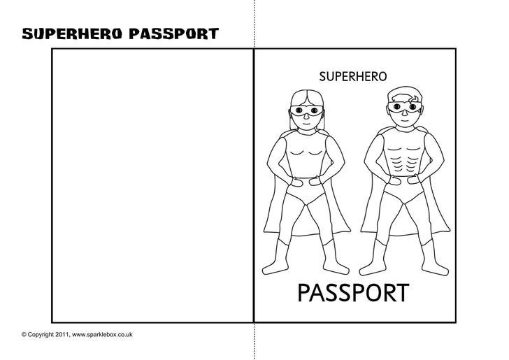 Superhero Passport Writing Frame Printable Template Download
