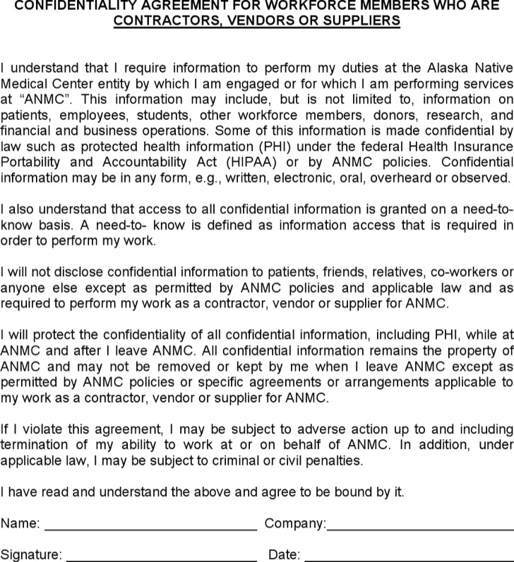 Vendor Agreement Vendor Confidentiality Security Agreement Sample