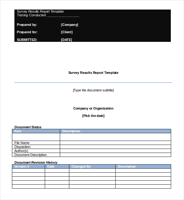 Survey Report Template  Download Free  Premium Templates Forms