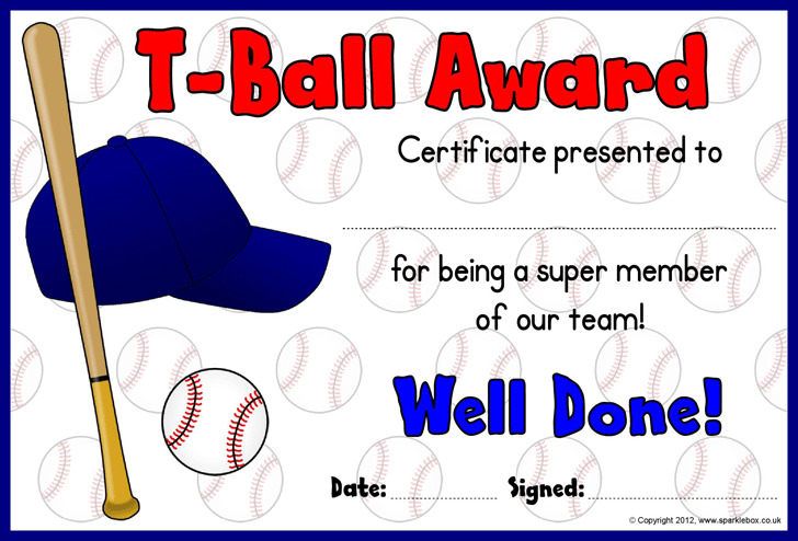 T-Ball Award Certificates