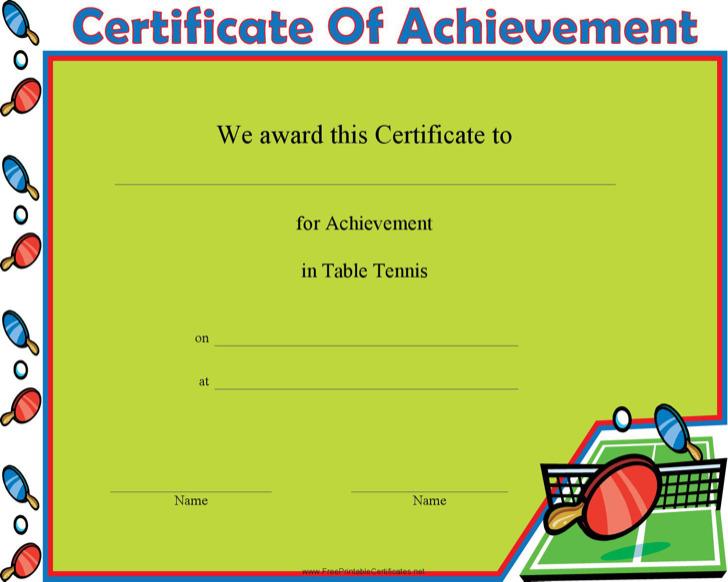 Table Tennis Achievement