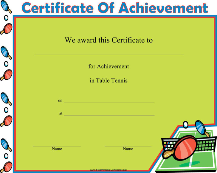 Table Tennis Winner Certificate