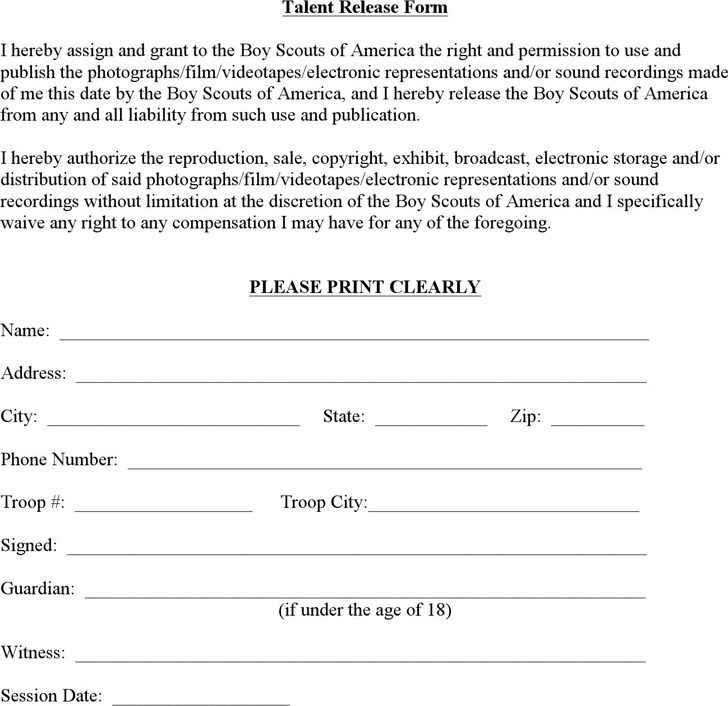 Talent Release Form  Download Free  Premium Templates Forms