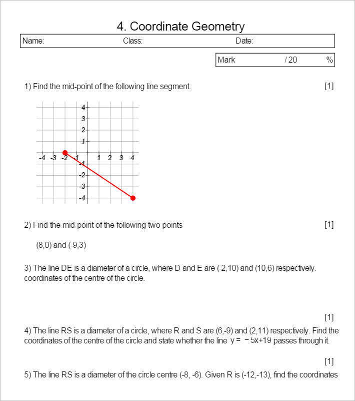 Sample Coordinate Geometry Worksheet Templates – Coordinate Geometry Worksheets
