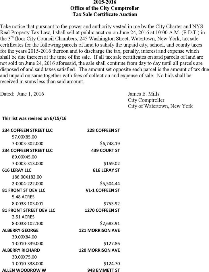 Tax Sale Certificate Auction