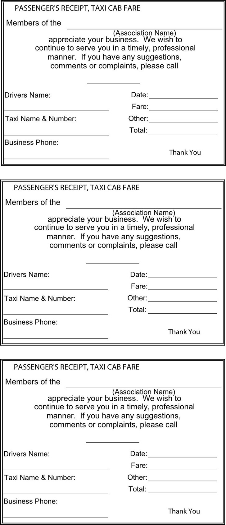 format of taxi bill invoice