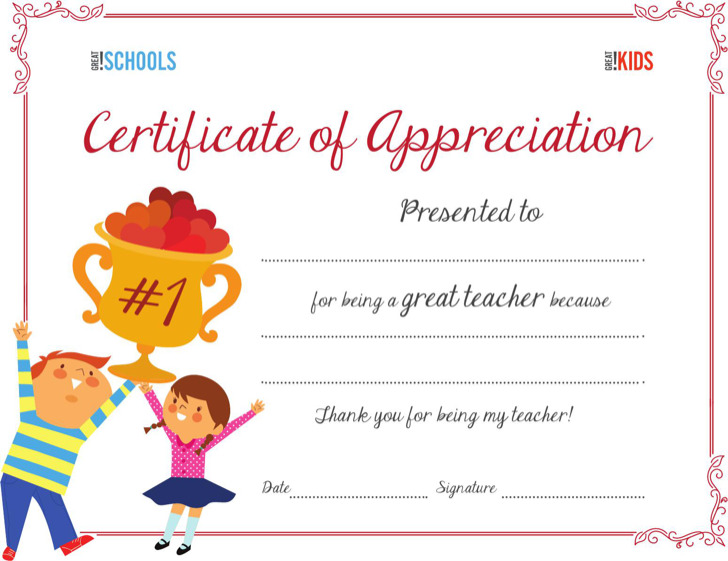 Teacher Appreciation Award Certificate