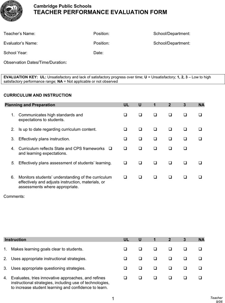 Teacher Evaluation Form | Download Free & Premium Templates, Forms