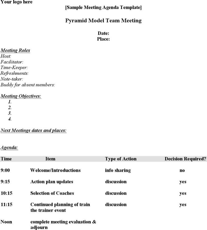 Team Meeting Agenda Template Of Company