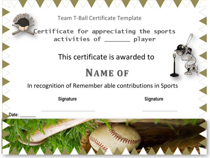 Attractive Team T Ball Certificate Template