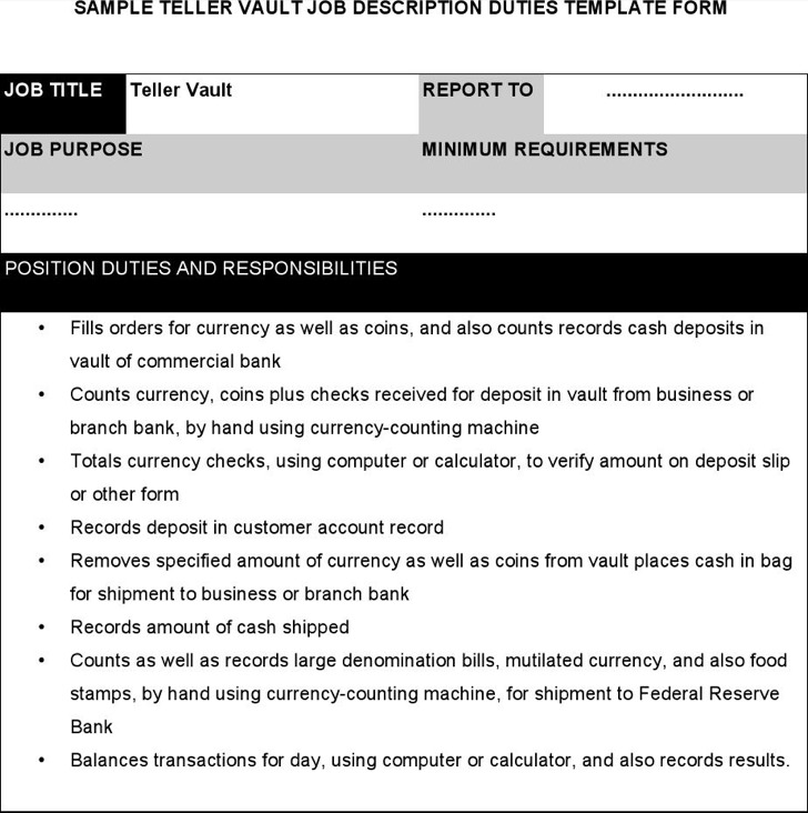 Teller Vault Job Description