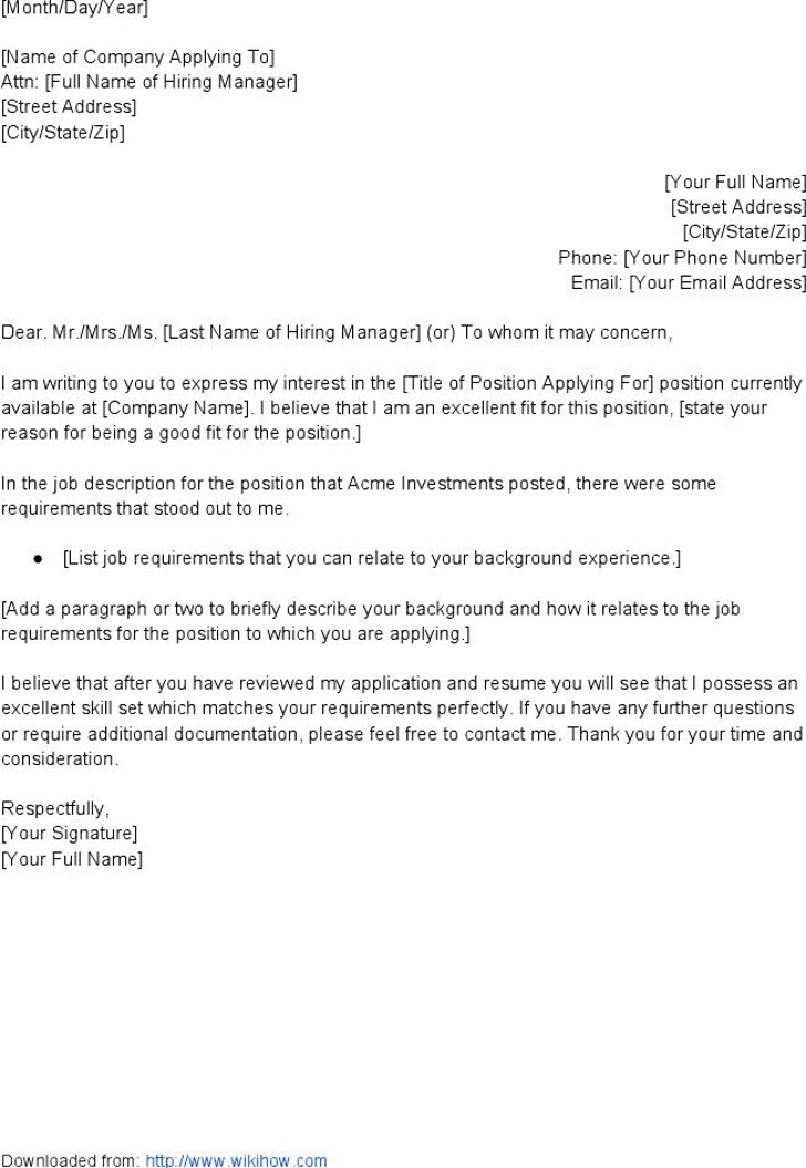 Template Letter of Application