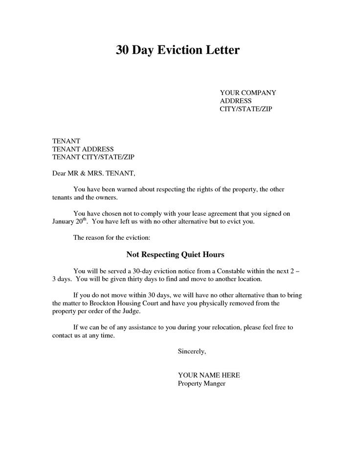 Eviction Letter Sample | Cover Letter Example