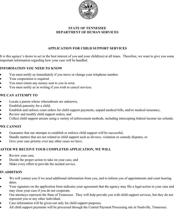 Tennessee Child Custody Form