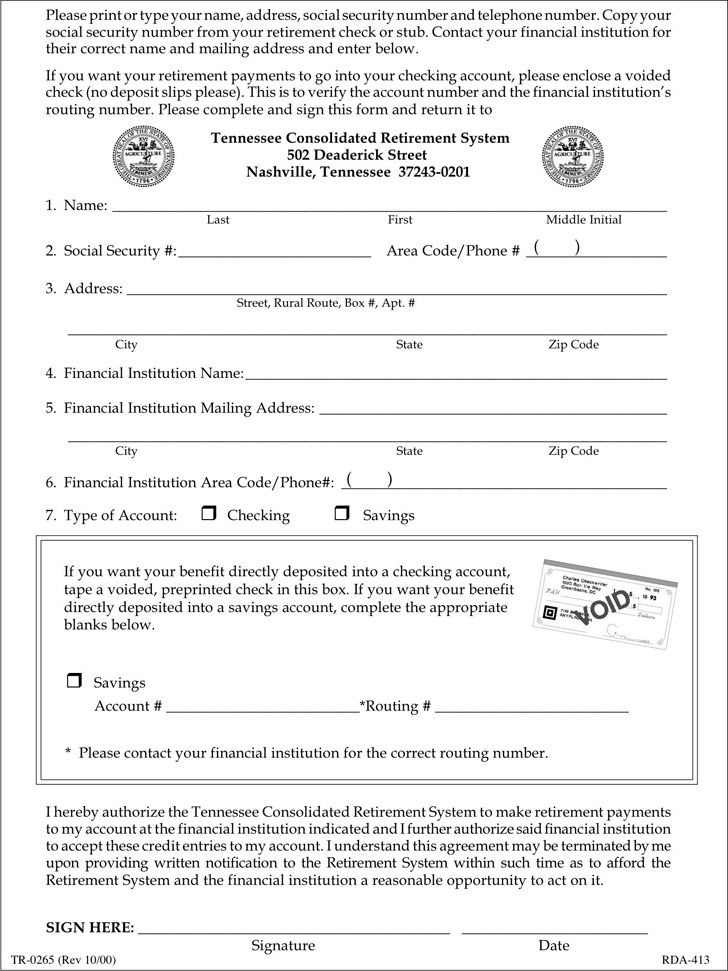 Tennessee Direct Deposit Form 1