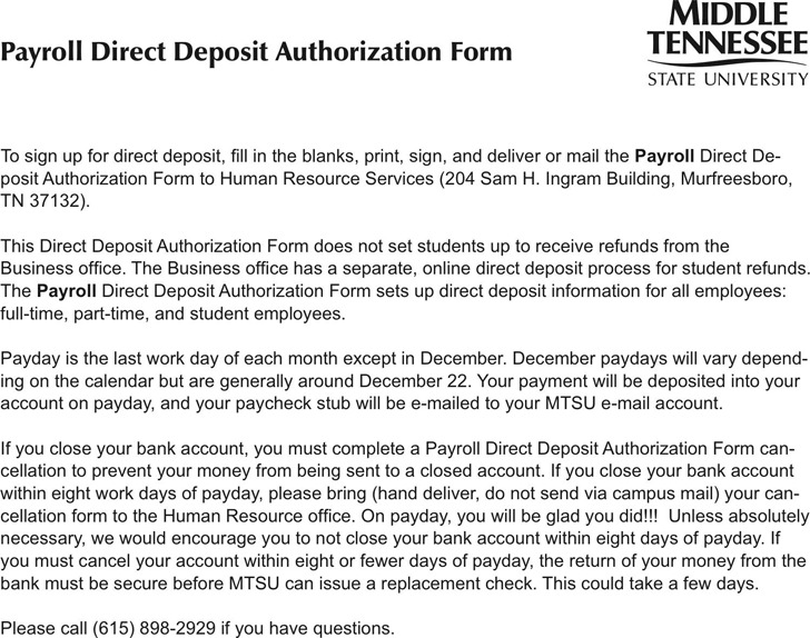 Tennessee Direct Deposit Form 3