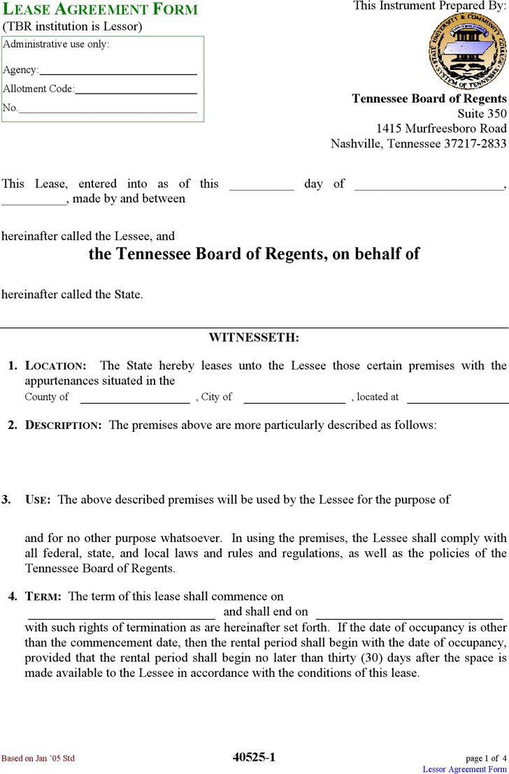 Tennessee Lease Agreement Form