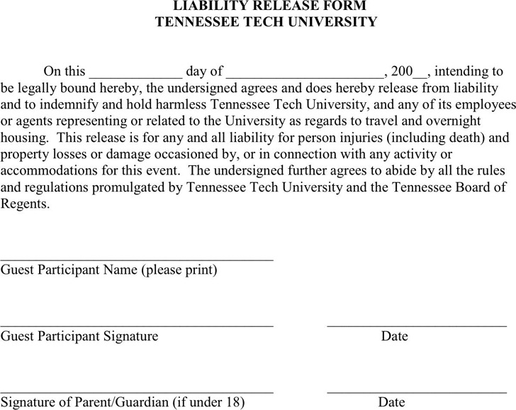 Tennessee Liability Release Form 2