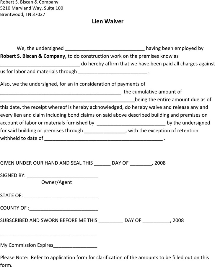 Tennessee lien release form download free premium templates tennessee lien waiver form maxwellsz