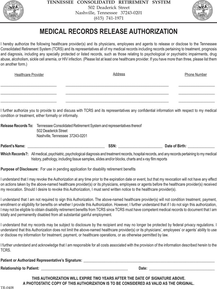 Tennessee Medical Records Release Form 2
