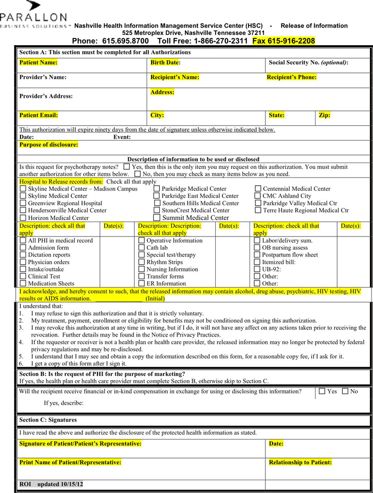 Tennessee Medical Release Form 1