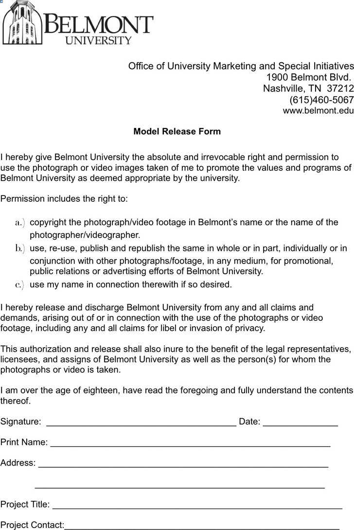 Tennessee Model Release Form 1