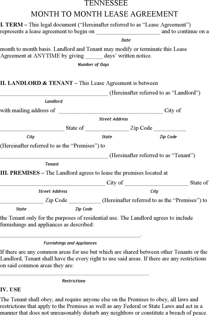 Tennessee Month to Month Rental Agreement