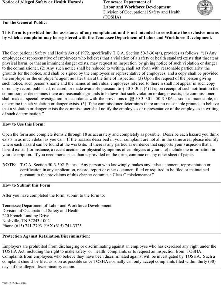 Tennessee Notice of Alleged Safety Or Health Hazards