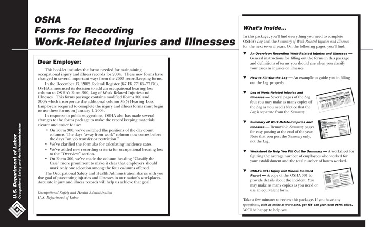 Tennessee OSHA Forms For Recording Work-Related Injuries And Illnesses