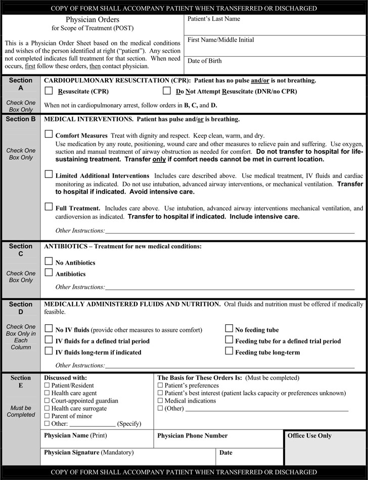 Tennessee Physician Orders For Scope of Treatment (POST) Form