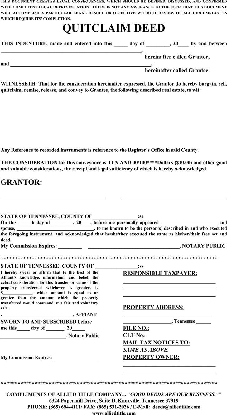 Tennessee Quitclaim Deed Form 1
