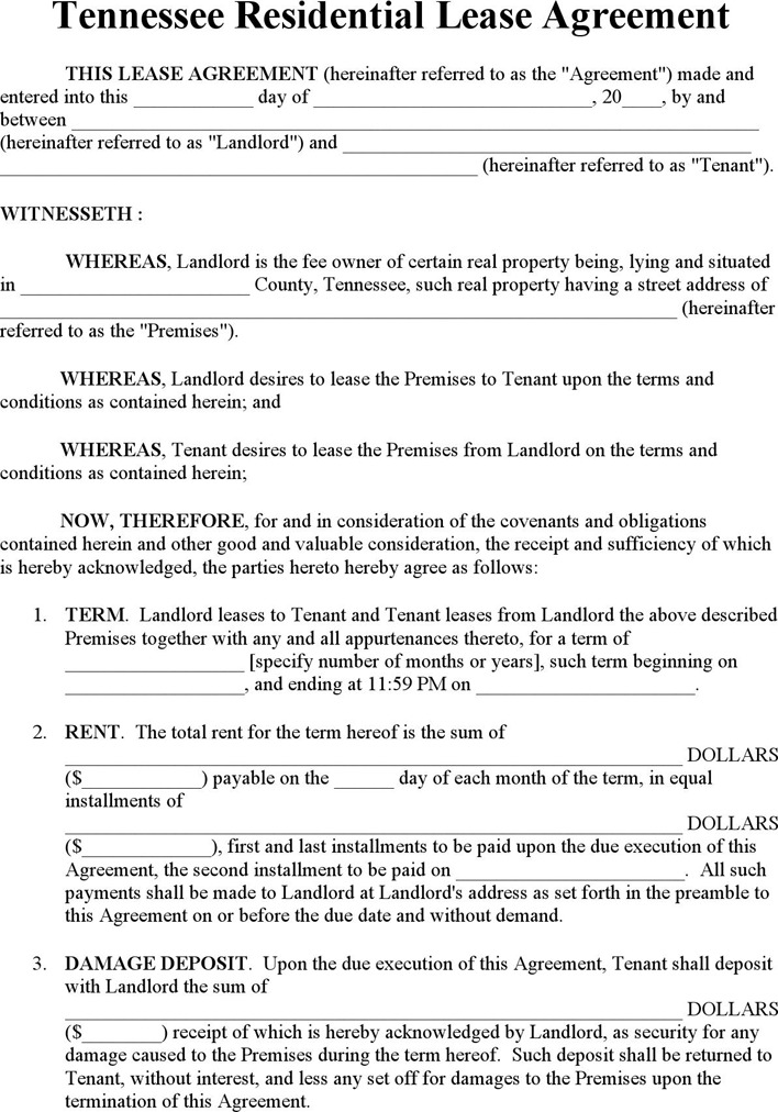 Tennessee Rent And Lease Template