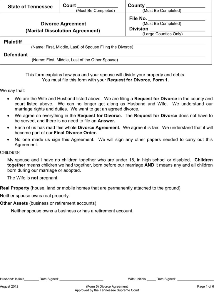 Tennessee Separation Agreement Template